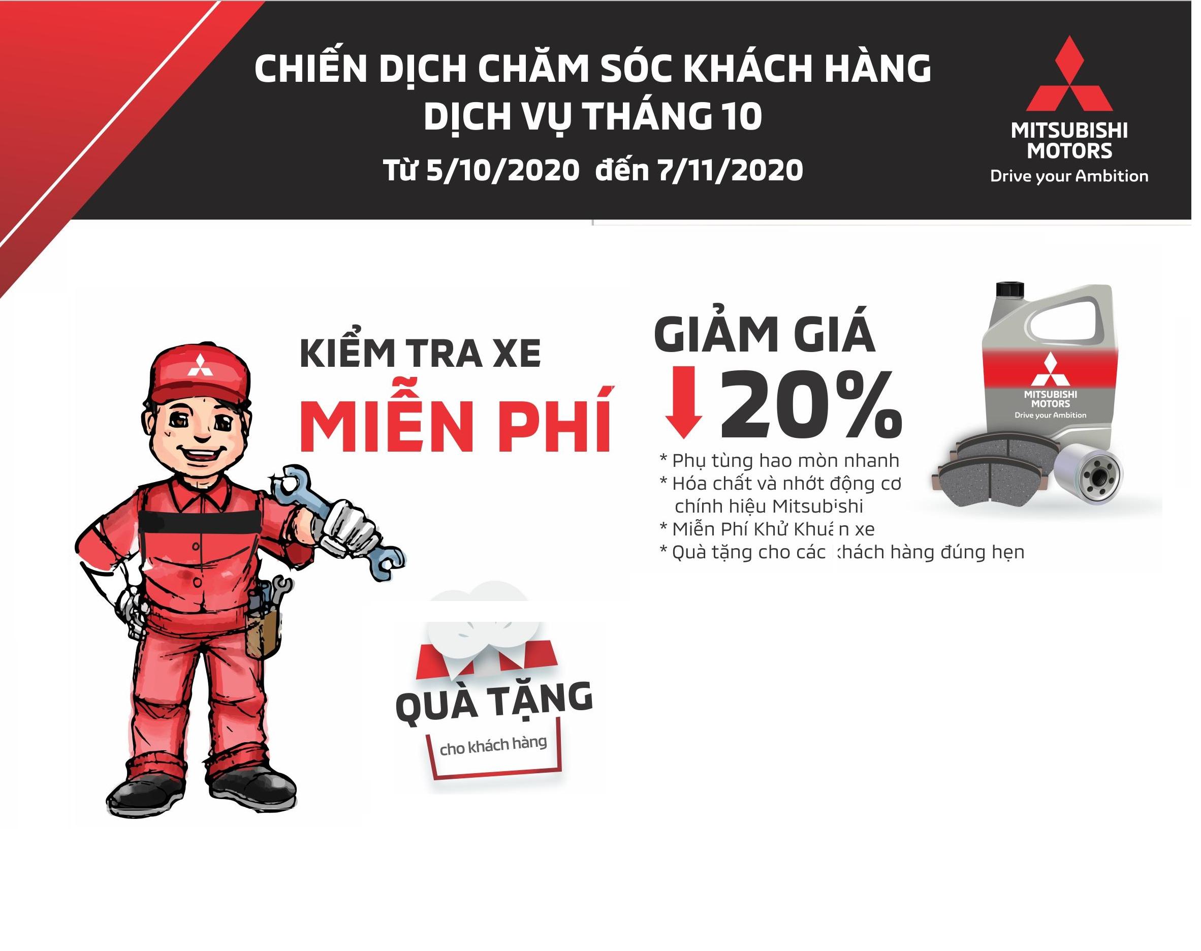 Chiến dịch chăm sóc khách hàng tại Mitsubishi Phú Thọ tháng 10/2020